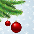 Baubles hanging on Christmas tree — Stock Photo
