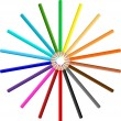 Circle of coloured pencils — Stock fotografie