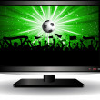 Football crowd on LCD television — Stock Photo