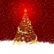 Golden christmas tree - Stock Photo