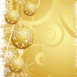 Hanging gold Christmas baubles — Stock Photo