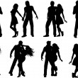 Couple silhouettes — Stock Photo