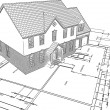 Sketched house on plans — Stock Photo #5048434