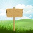Wooden sign in grass — Stock Photo