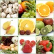 Fruit and vegetables collage - Stock Photo