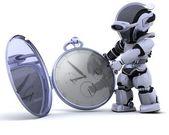 古典的な懐中時計とロボット — ストック写真