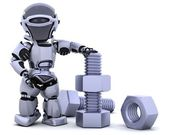 Robot with nut and bolt — Stock Photo