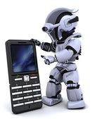 Robot with smart phoine — Stock Photo