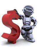 Robot z symbolem — Zdjęcie stockowe