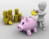 Mann, die platzierung von geld im sparschwein — Stockfoto