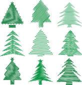 Scribble christmas trees — Stock Photo