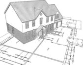Sketched house on plans — Stock Photo