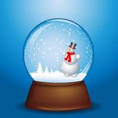 Snowman in snow globe — Stock Photo