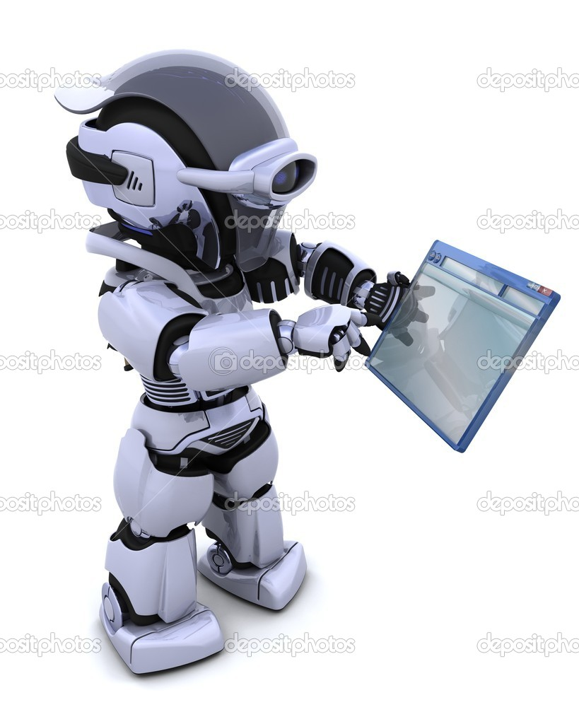 3D render of robot navigating through computer window   Stock Photo #5040148