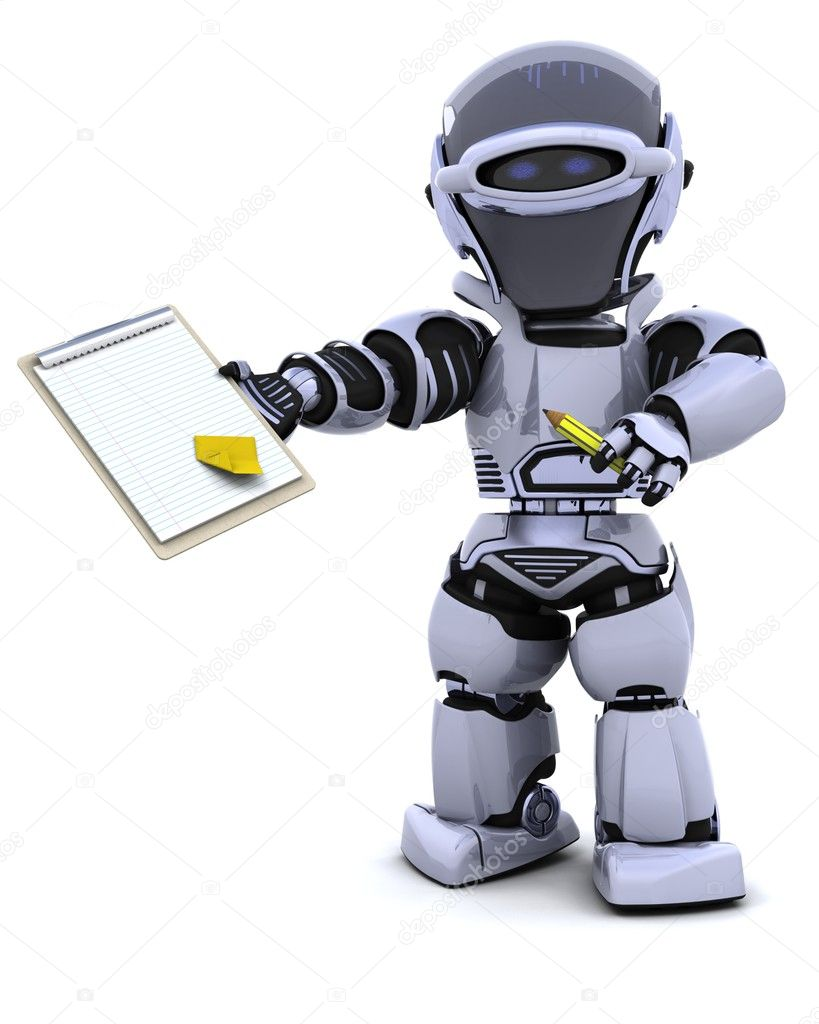 3D render of a robot  with clipboard — Stock Photo #5040199