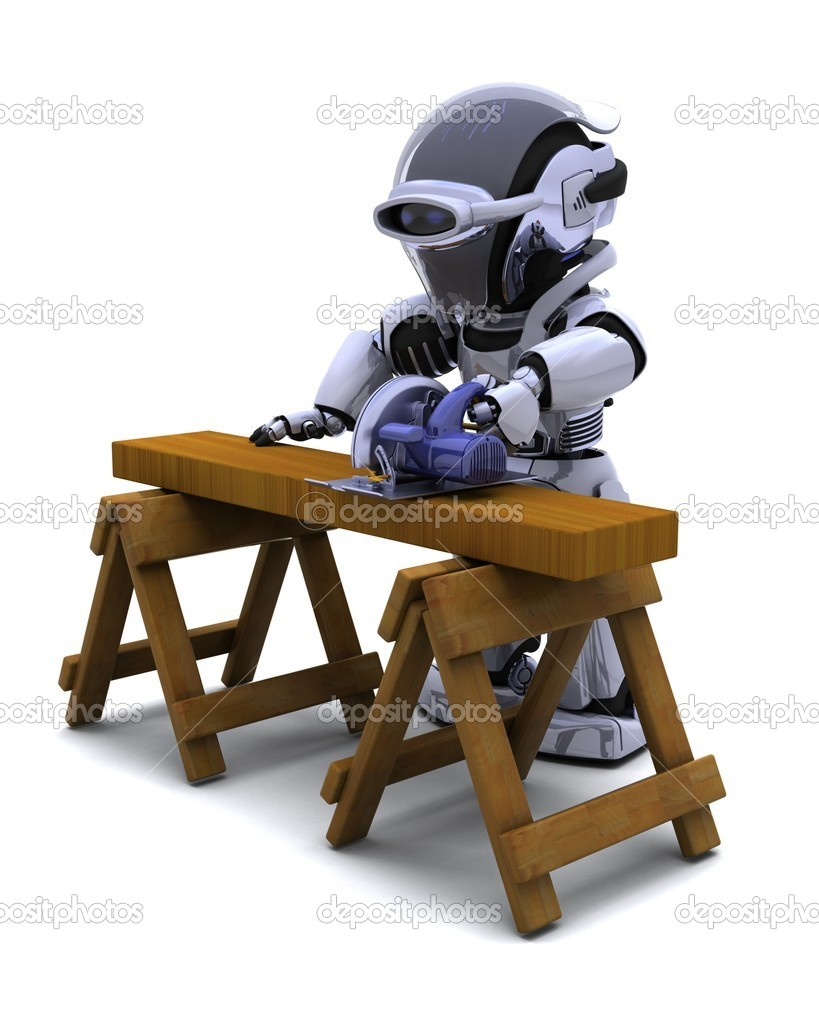 3D render of robot with power saw cutting wood — Stock Photo #5040544