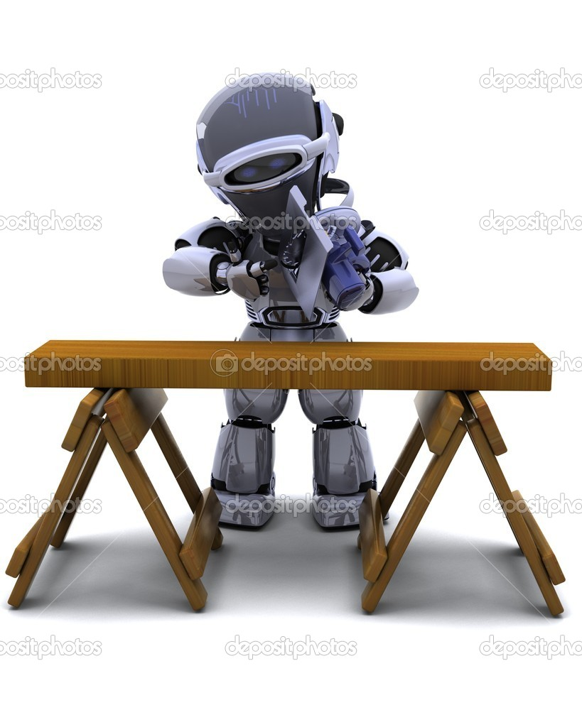 3D render of robot with power saw cutting wood  Stock Photo #5040545