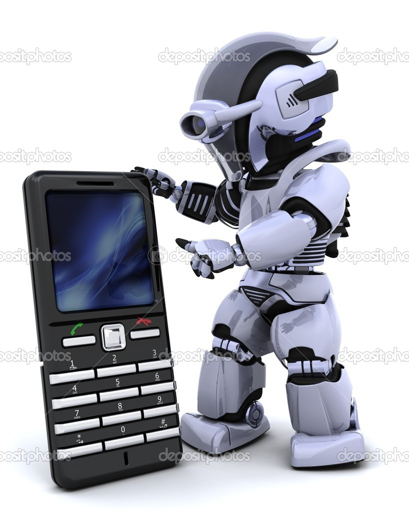 3D render of a robot character witha a smart phone — Stock Photo #5041259