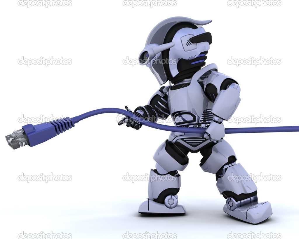 3D Render of a robot with RJ45 network cable — Stock Photo #5041449
