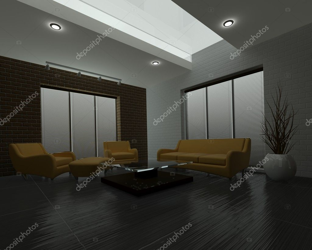 3D render of a Contemporary interior living space — Stock Photo #5041795