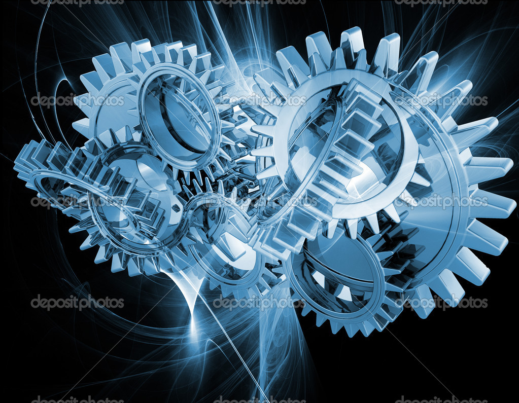 Interlocking gears on an abstract fractal background — 图库照片 #5042321