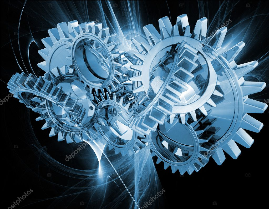 Interlocking gears on an abstract fractal background  Foto Stock #5042321