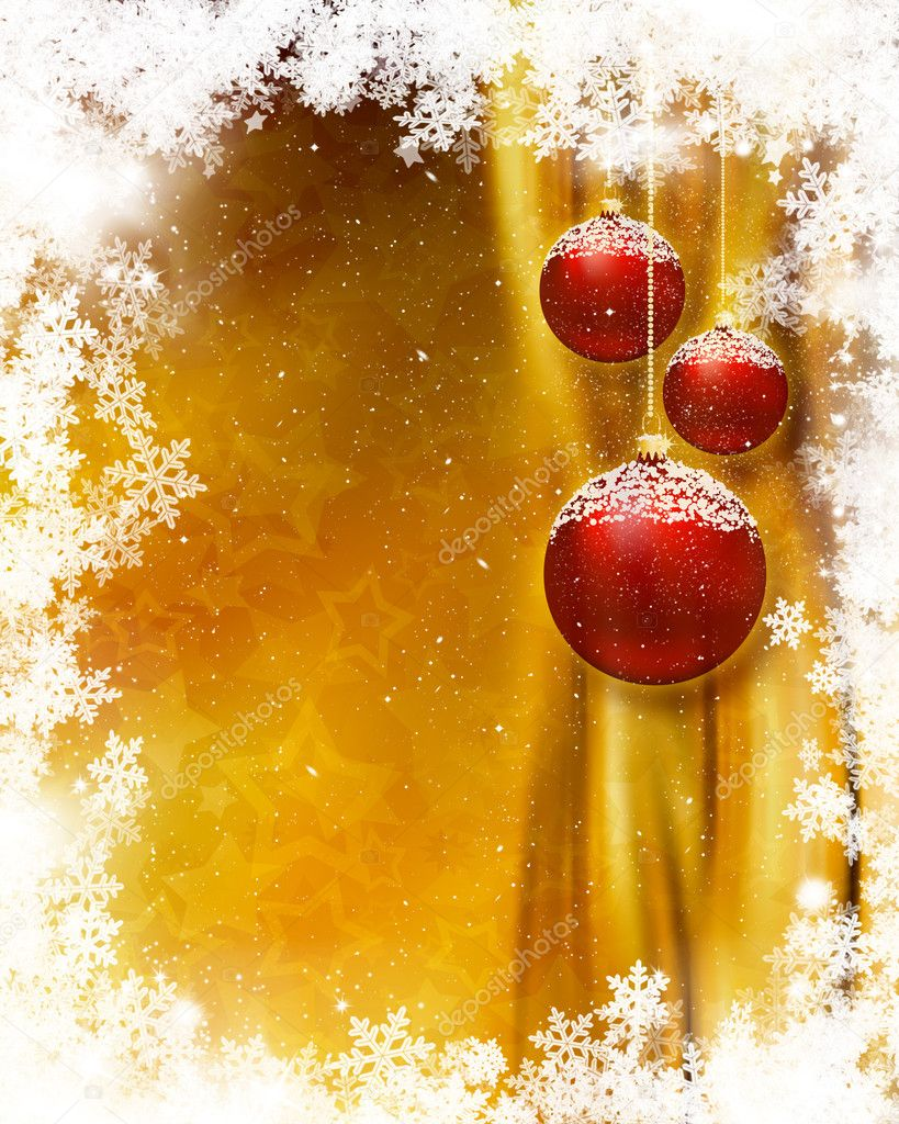 Hanging Christmas baubles on snowflake background — Stock Photo #5042395
