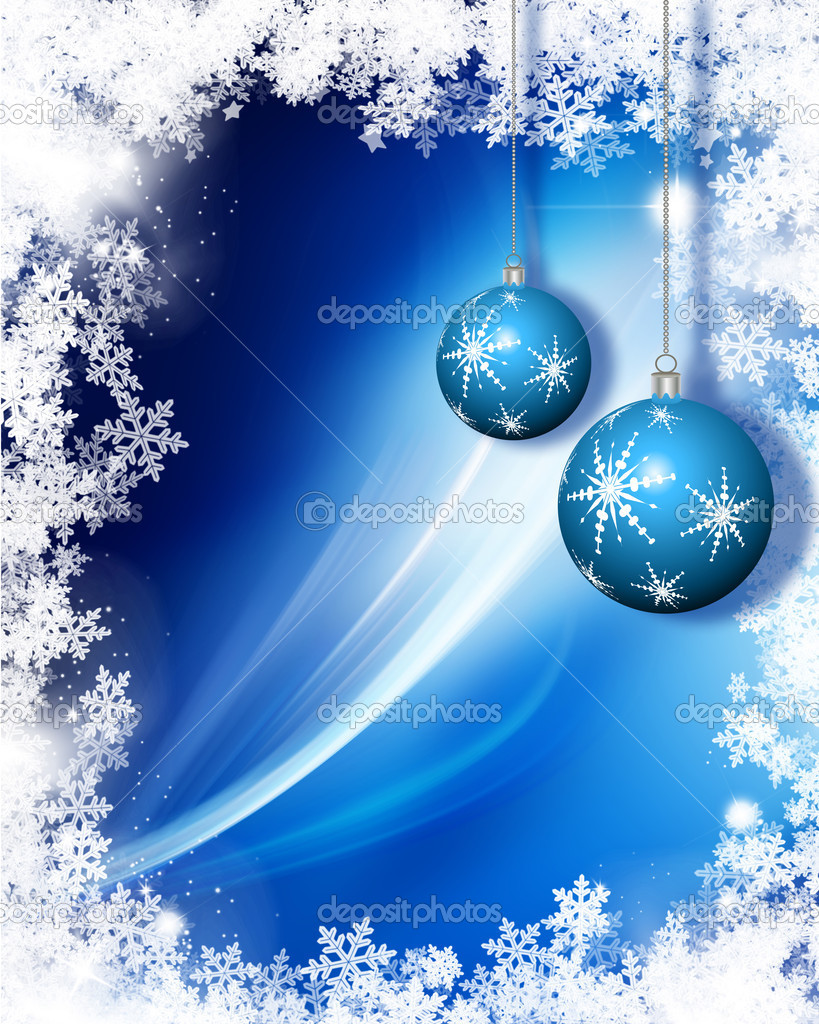 Hanging Christmas baubles on a snowflake background — Stock Photo #5042587