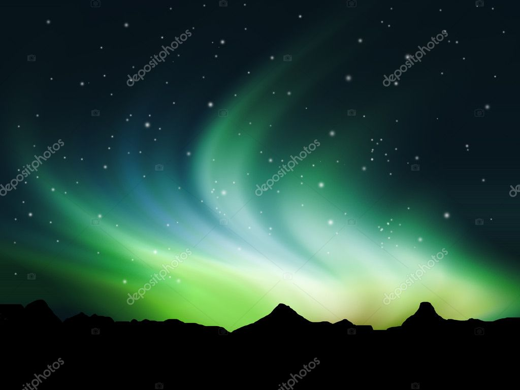 Background showing Northern lights in the sky  Stock Photo #5042685