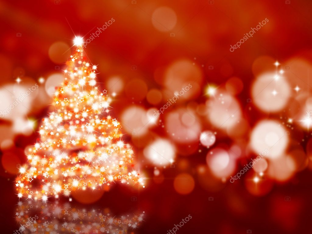 Sparkly Christmas tree on an abstract background  Stock Photo #5042801