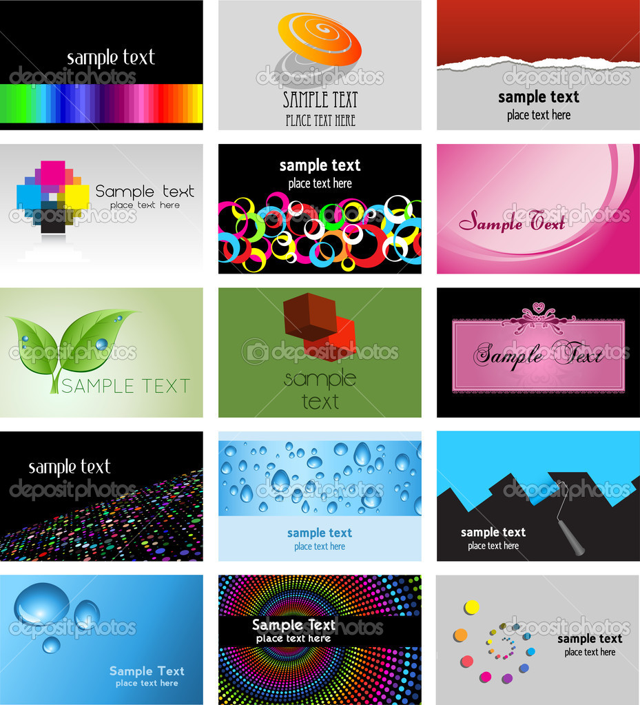 Large collection of various business card designs  Stock Photo #5045460