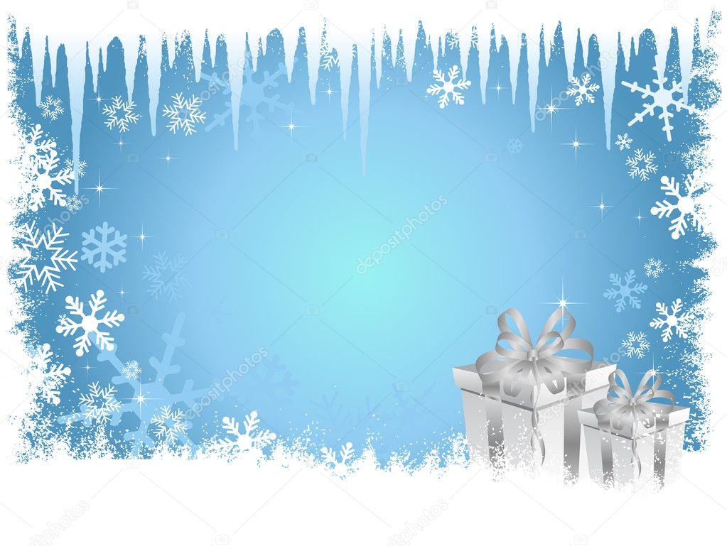 Blue Christmas Presents Background