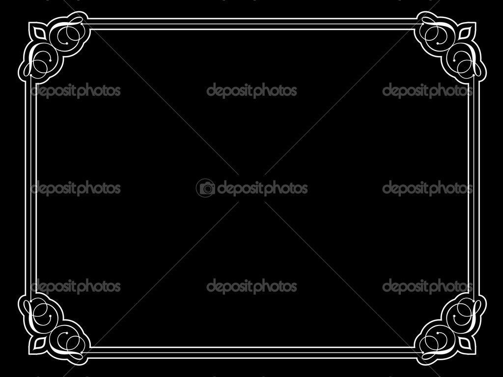 Decorative vintage style border on black background  Stock Photo #5046319