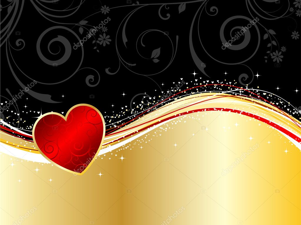 Valentines background with a heart and floral elements — Stock Photo #5046371