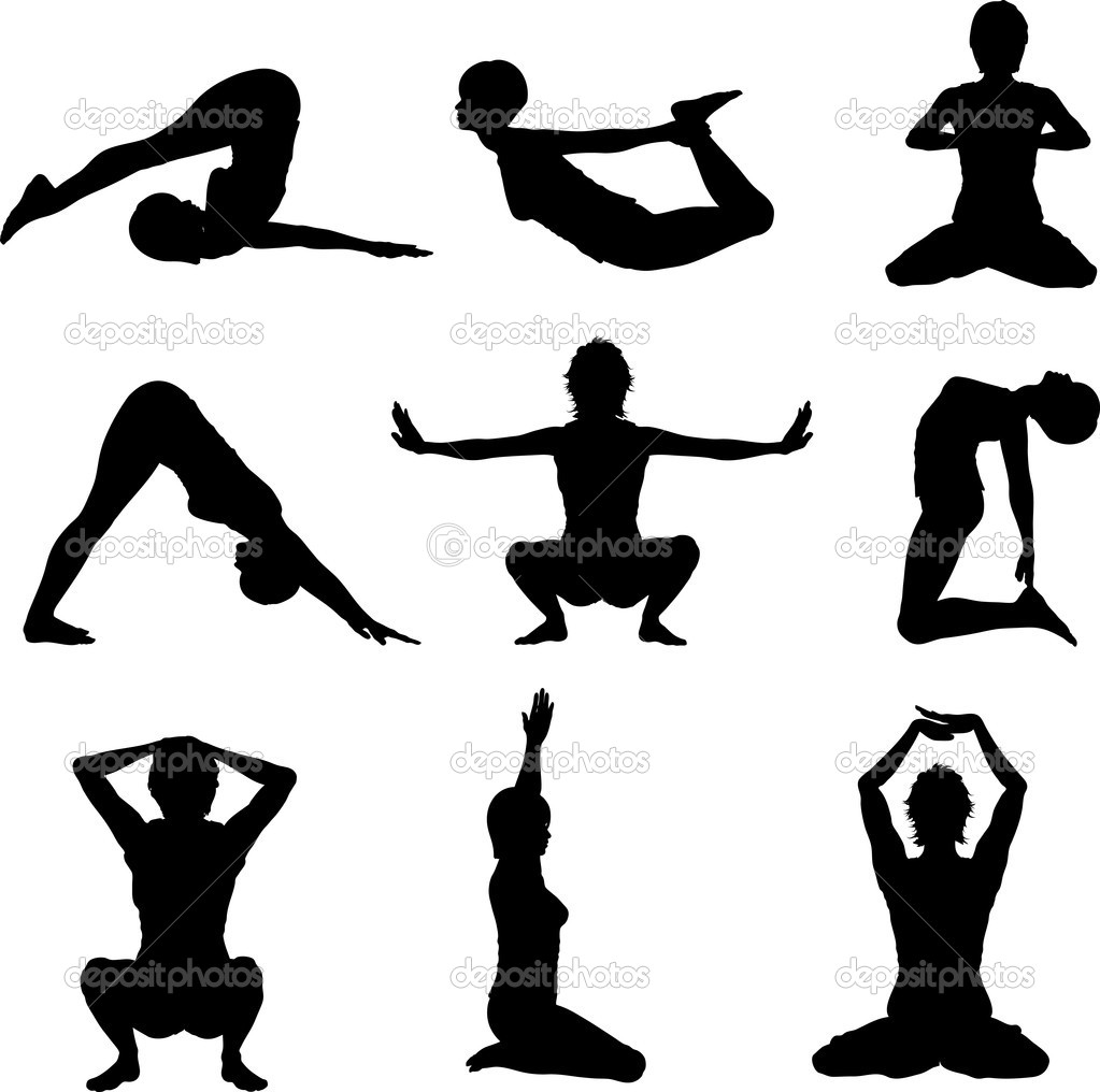 Silhouettes of females in various yoga poses — Stock Photo #5046556
