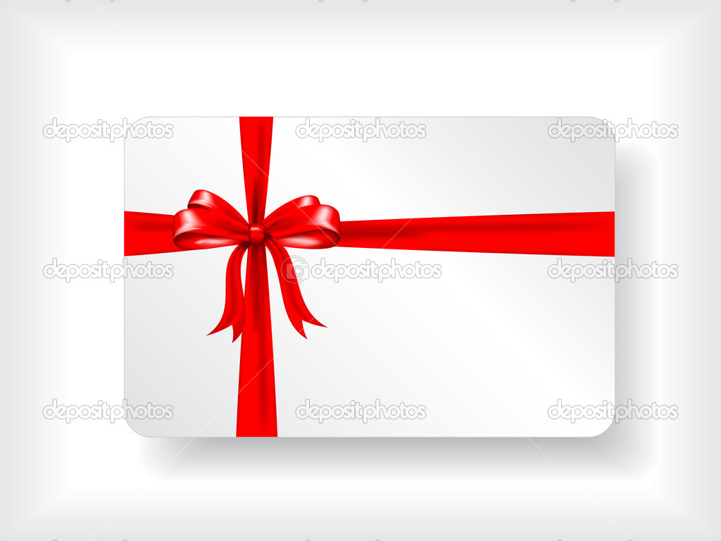 Christmas gift card design with red ribbon — Stock Photo #5047016