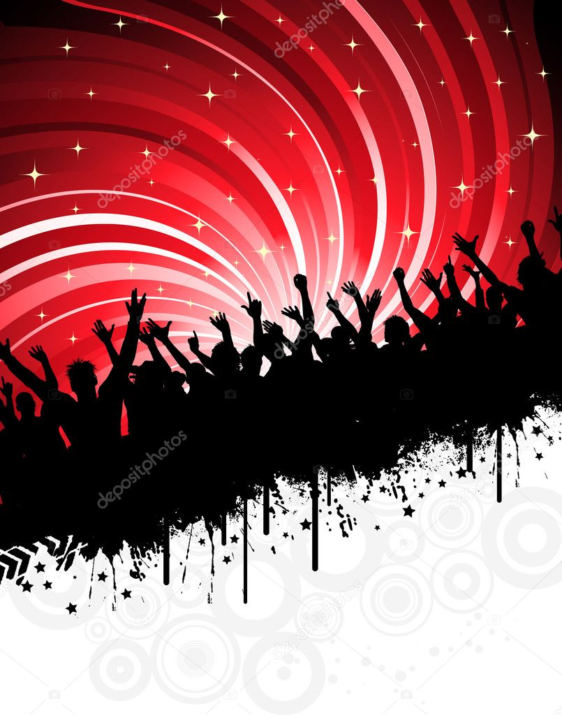 Silhouette of an excited audience on a grunge background  Stock Photo #5047574
