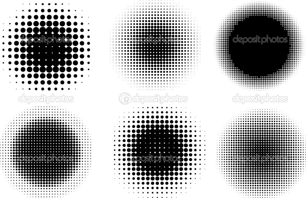 Various different circular halftone dot designs — Stock Photo #5047764