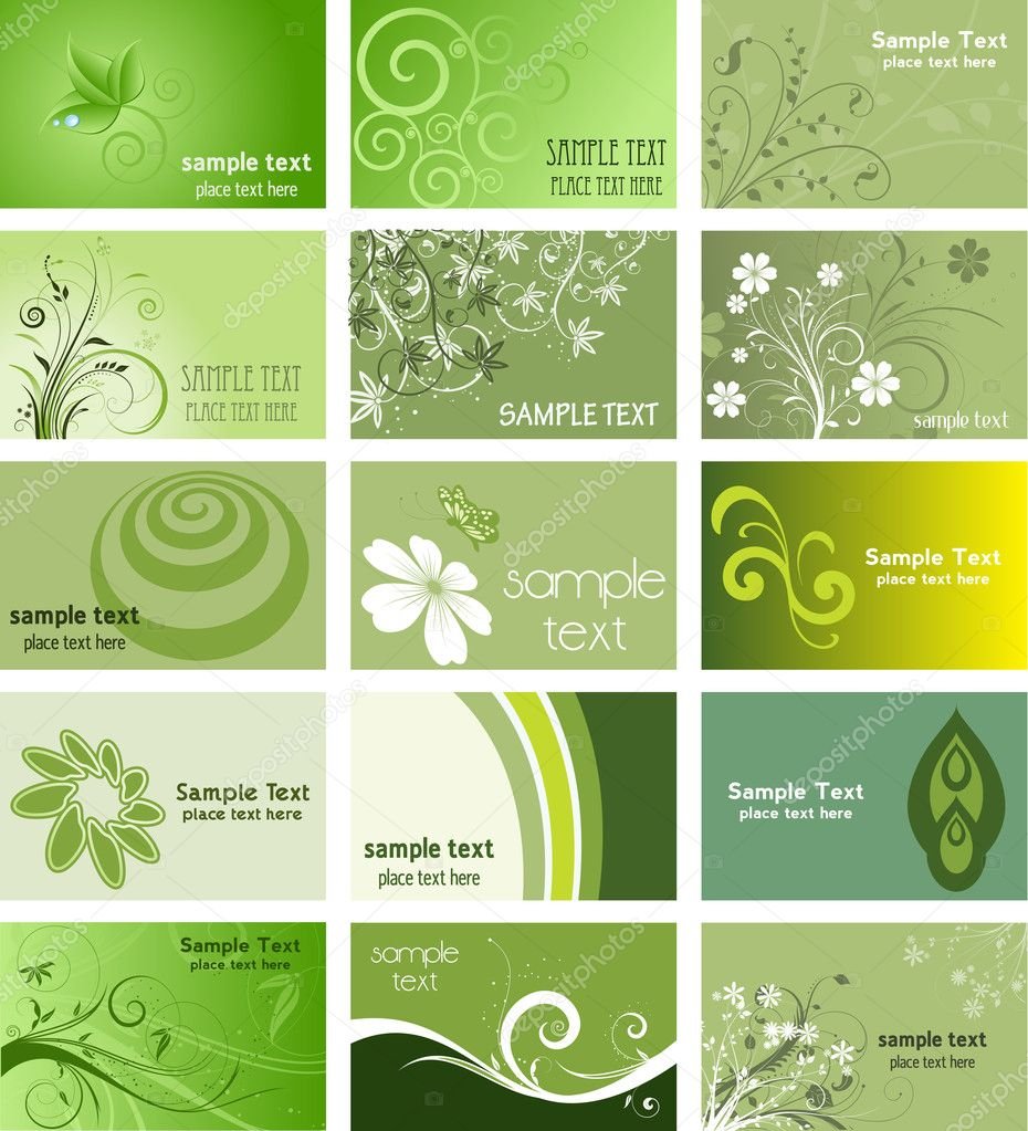 Large collection of business cards with a nature theme — Stock Photo #5048006