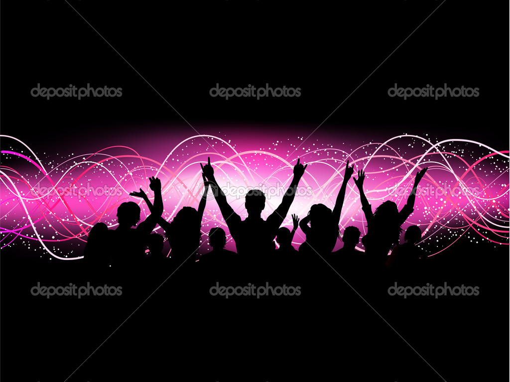 Crowd Silhouette Vector Silhouette of an Excited Crowd