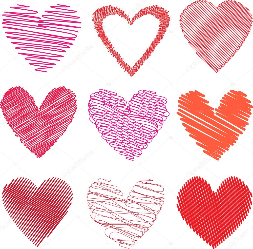 Various different styles of scribbled hearts on white background — Stock Photo #5048409