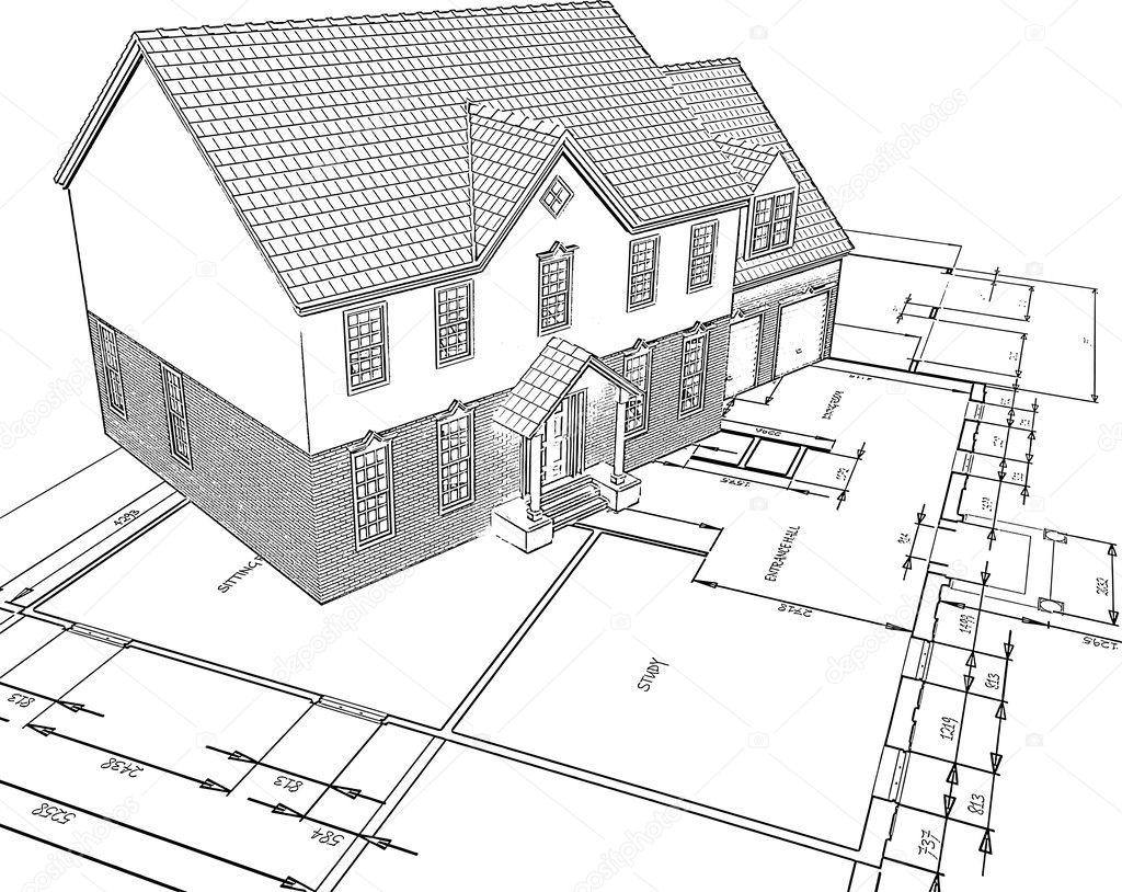 Getekende huis op plannen — Stockfoto © kjpargeter #5048434