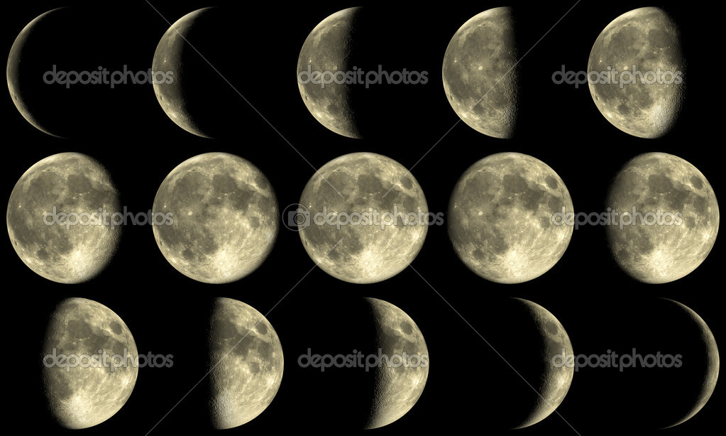 The Moon with all phases during a month — Stock Photo #4294736
