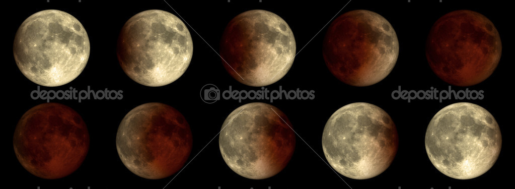 The Moon during an eclipse - a series of different phases.  Stock Photo #4370270