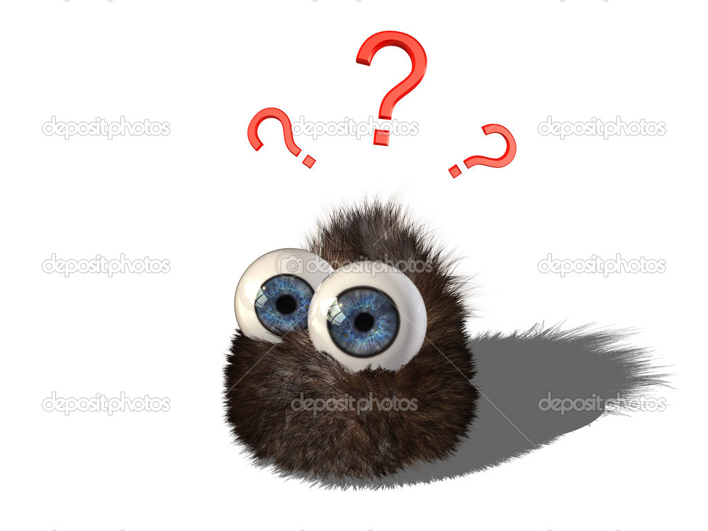 Wobby, the cute hairy little creature, has some questions — Stock Photo #5370101