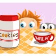 Cookies and milk - Stock Vector