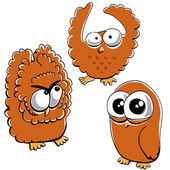 Little funny owl set #2 — Stock Vector