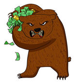 Angry bear with money — Stock Vector