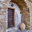 Stock Photo: Wooden entrance in Monemvasia's old town.