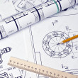 Stock Photo: Engineering drawing